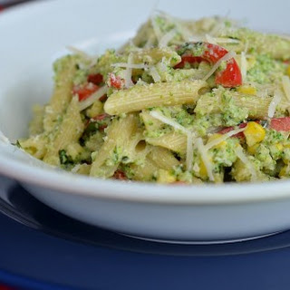 Penne with Broccoli Pesto and Corn.