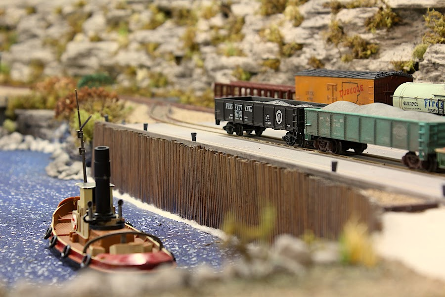 waiting to off-load  by John Nelson - Artistic Objects Toys ( ho scale, scenery, model railroad, trains, dock )