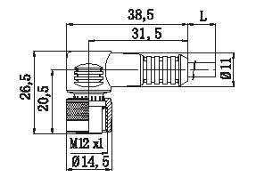 Kabel med M12 kontakt, 4-ledare, 5m, 90 gr vinkel