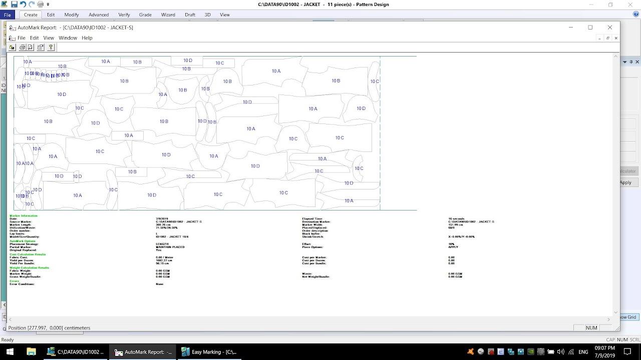 AccumarkV10 Pattern Design-Process Costing Marker: Tạo Sơ Đồ Tính Định Mức Tạm 6