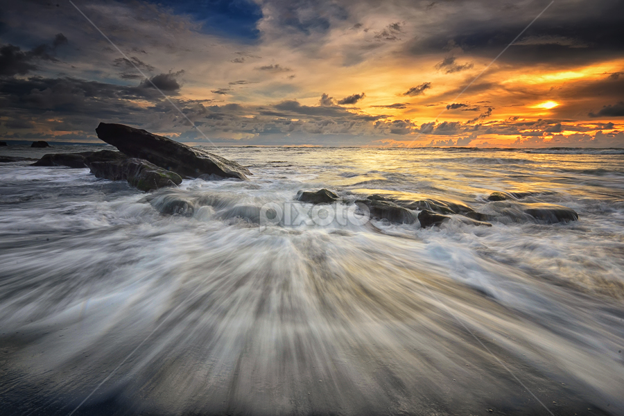 Drive by Hendri Suhandi - Landscapes Beaches ( bali, sunset, stone, rock, sunrise, beach, motion, landscape )