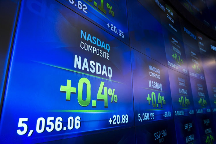 An electronic board shows the closing numbers for the Nasdaq Composite Index at the Nasdaq in New York. File photo: REUTERS