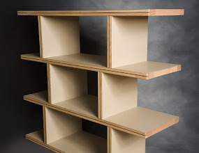 Photo: Multi level shelving with clear finish.