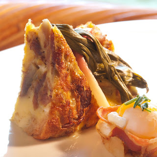 Pork Rib Confit Frittata with Goat Cheese Butter Cream Sauce.