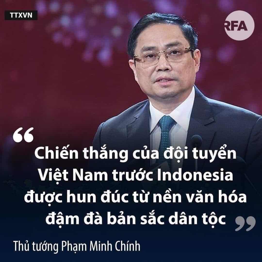 thư khen ngợi đội tuyển bóng đá vừa thắng đội Indonesia 4-0 của thủ tướng Phạm Minh Chính
