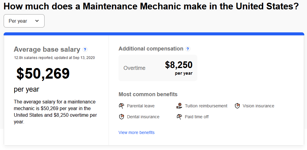 maintenance mechanic salary