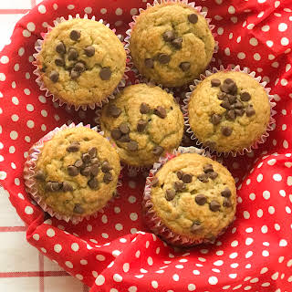Quick and Easy One Bowl Banana Chocolate Chip Muffins.