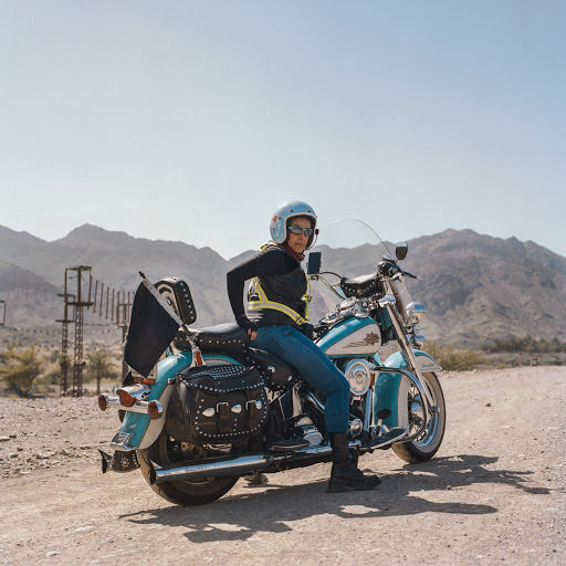 Portrait of woman motorcyclist.
