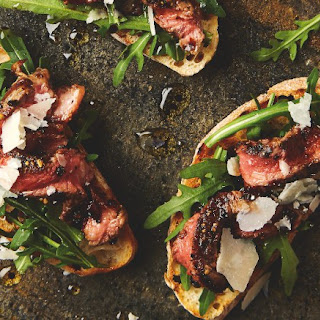 Peppered Steak Tagliata Crostini.