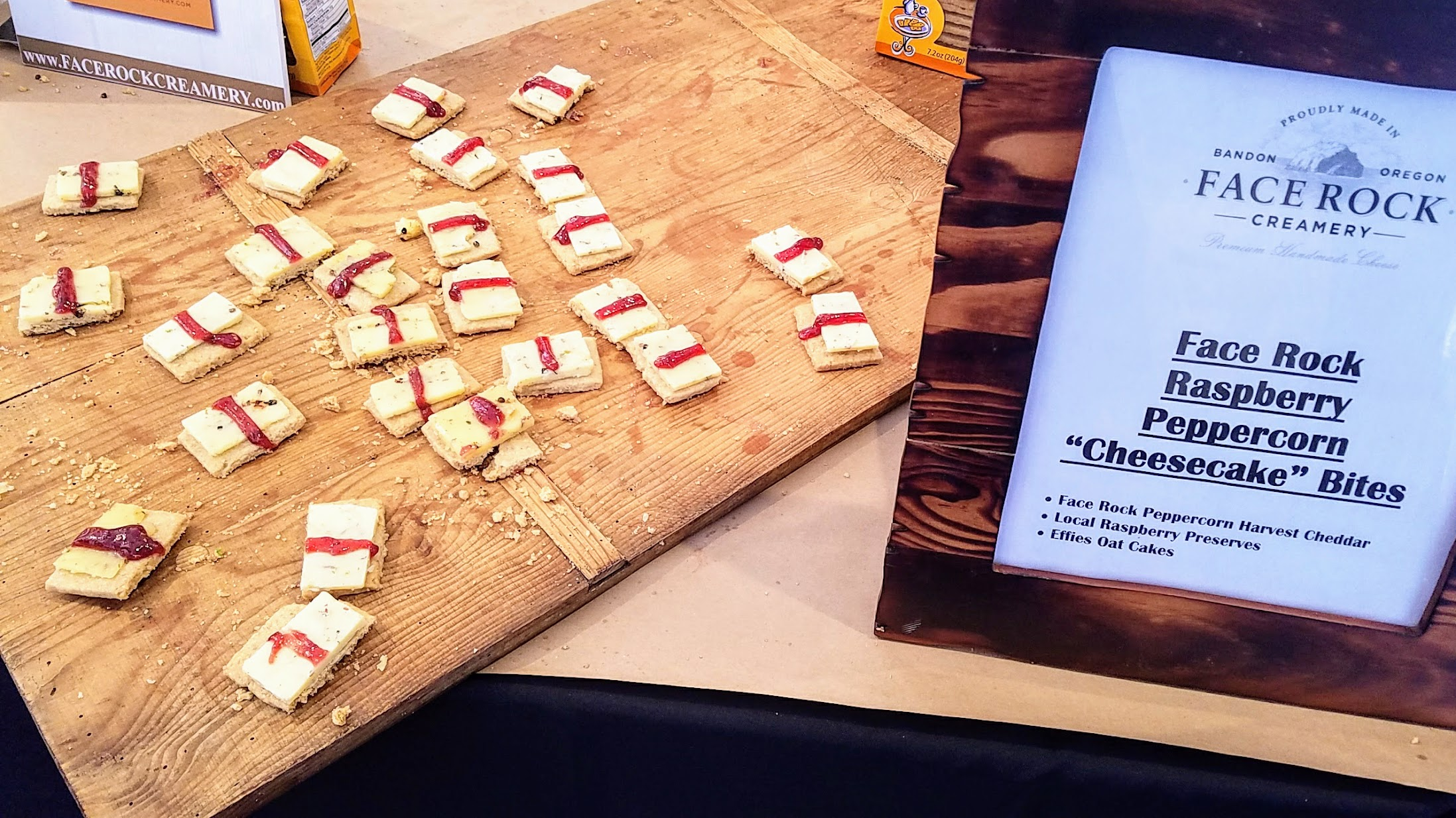 Feast Portland 2016 Grand Tasting, samples from Face Rock Creamery perfect for a party, Face Rock Raspberry Peppercorn 'Cheesecake' Bites with Face Rock Peppercorn Harvest Cheddar, Local Raspberry Preserves, and Effies Oat Cakes