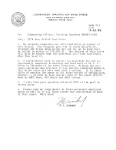 Photo: Congratulatory letter from TRA Wing Three Commander, Tom Wimberly, to VT 25 Commnading Officer for job well done in the fund raising campaign for the 1978 Navy Relief Drive.