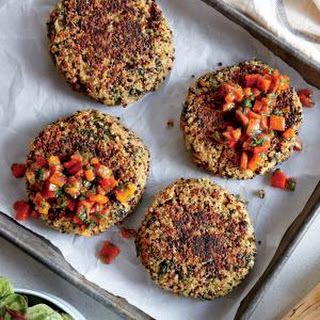 Spinach-Quinoa Cakes with Bell Pepper Relish