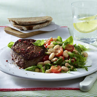 Seared Sirloin Steak with Tomato and Bean Salad