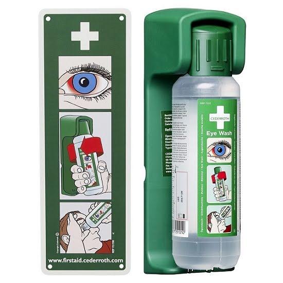 Vägghållare till Ögonduschflaska inkl instruktionsskylt