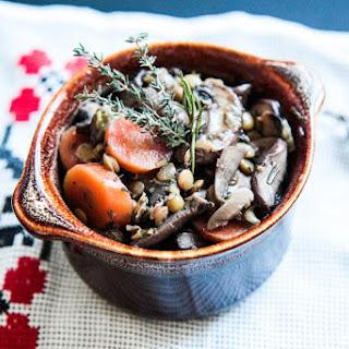 Mushroom Bourguignon with Green Lentils.