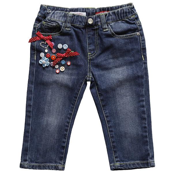 Photo: Silvian Heach  Baby Girls Blue Denim Jeans with Beads & Bows http://www.childrensalon.com/girls-denim-jeans-with-beads-bows.html  Price: £29 Size range: 6-24 months