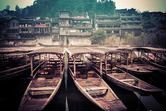 Photo: Old Boats on an Old River, Feng Huang, China  I spent many hours sitting along the shore here, drinking tea and eating snacks while drawing on my sketchpad...