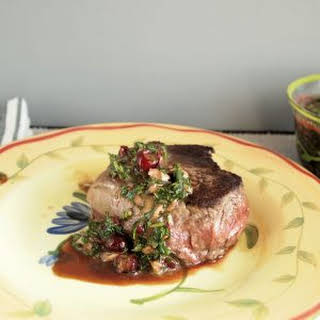 Bison Steaks with Cranberry Chimichurri #SundaySupper.