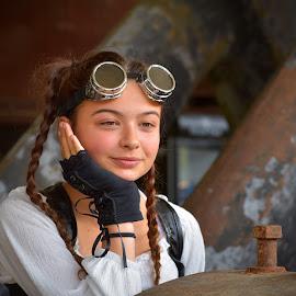 by Marco Bertamé - Babies & Children Child Portraits ( child, girl, goggles, gloves, rusty, rust, steampunk, portrait )