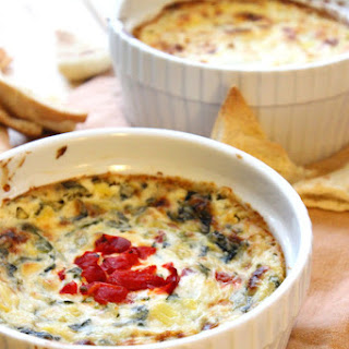 Hot Cheesy Spinach and Roasted Red Pepper Artichoke Dip Recipe