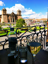 Photo: Concha y Toro Pinot Grigio, overlooking Plaza de Armas and main Cathedral in background.  Cuzco, Peru.  July 2012.