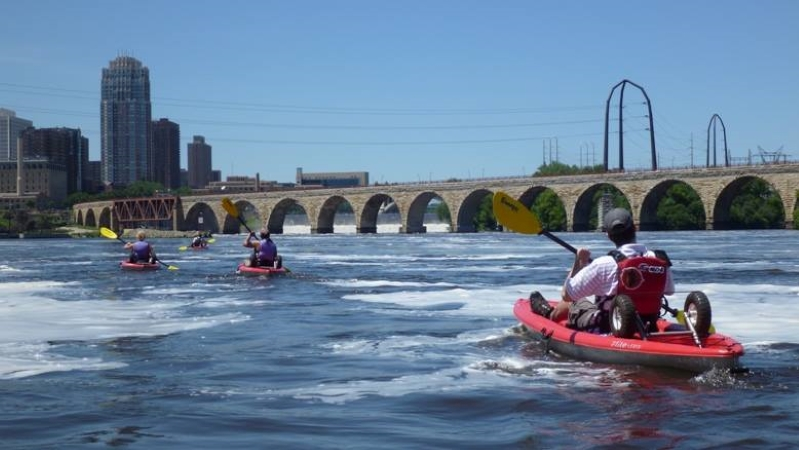 kayaking on the Mississippi river in Minneapolis
