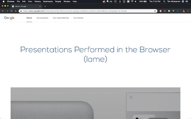 Chrome Presentation Mode