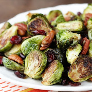 Roasted Brussels Sprouts with Cranberries and Pecans.