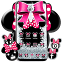 Cute minny pink Bow Silver Diamond Theme icon