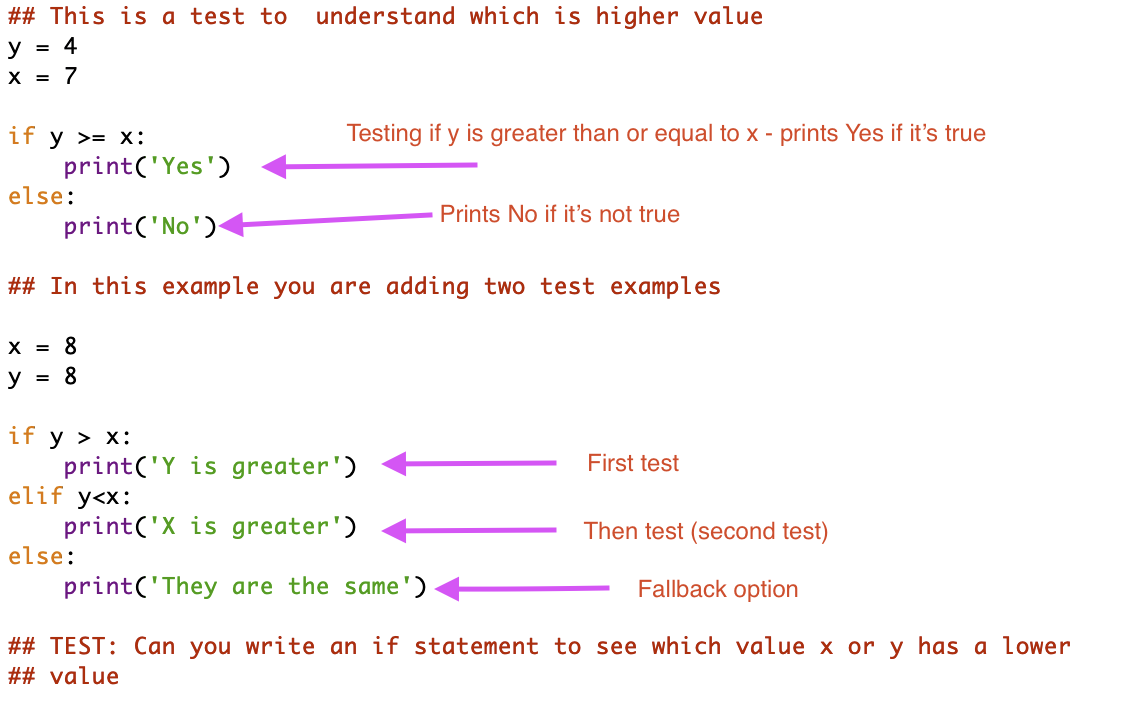 if statements code