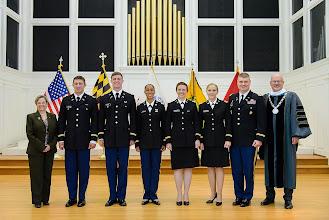 Photo: Brigadier General (Retired) Annette M. Deener '75, Logan Yox, Nicholas Smith, Jasmine McCormick, Olivia Brundage, Katharine Armstrong, Lt. Col. Eric Atherton, McDaniel President Roger Casey