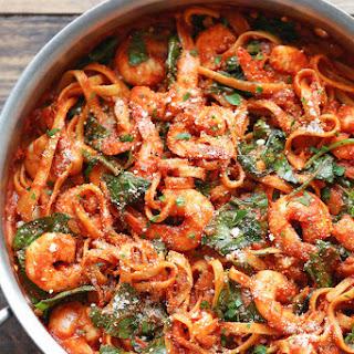 One Pot Shrimp Parmesan Pasta.