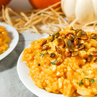 Creamy Pumpkin Risotto with Sweet and Spicy Roasted Pepitas [Vegan, Gluten-Free]