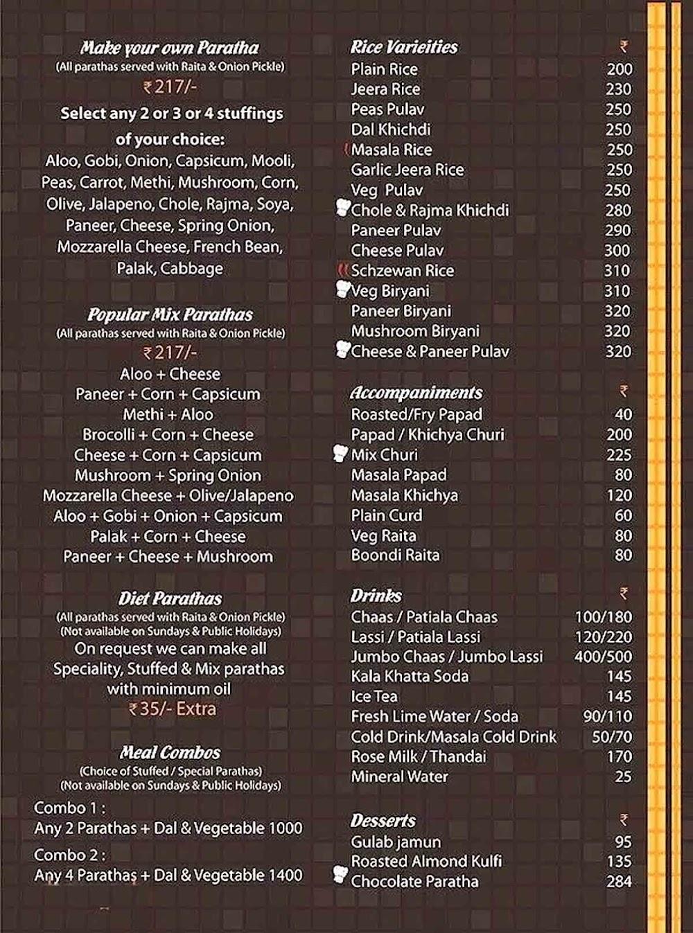 Paratha Mantra menu 2