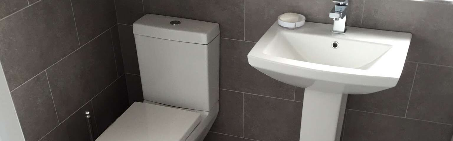 Bathroom Sink, Toilet and Tiling