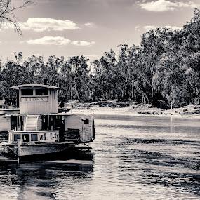 Etona on the Murray River by Matt Simner - Black & White Landscapes ( paddle steamer, etona, australia, murray river, echuca, victoria, pevensey )
