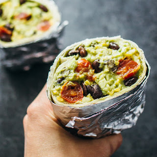 Guacamole Burrito With Balsamic Roasted Tomatoes And Black Beans.