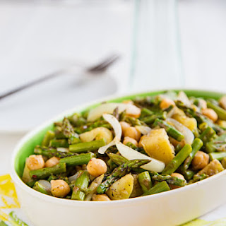 Roasted Asparagus Salad with Chickpeas and Potatoes.