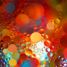 Amber Oils by Janet Herman - Abstract Macro ( abstract, oil and water, macro, colorful, oils, floating, reflections )