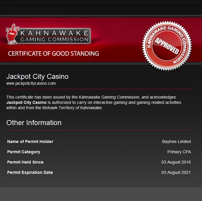 Jackpot City Casino licence kahnawake