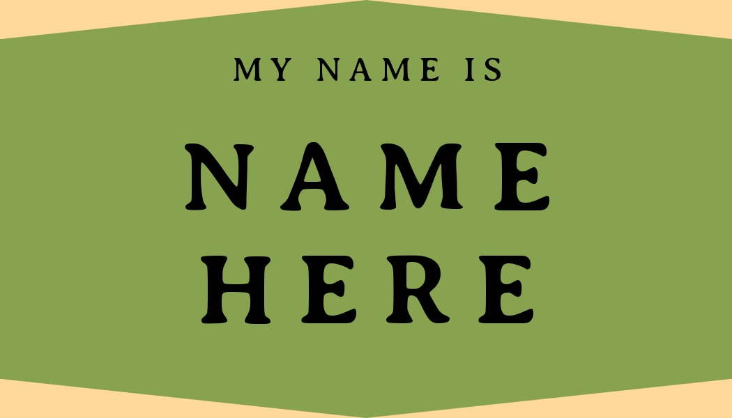 name tag template green
