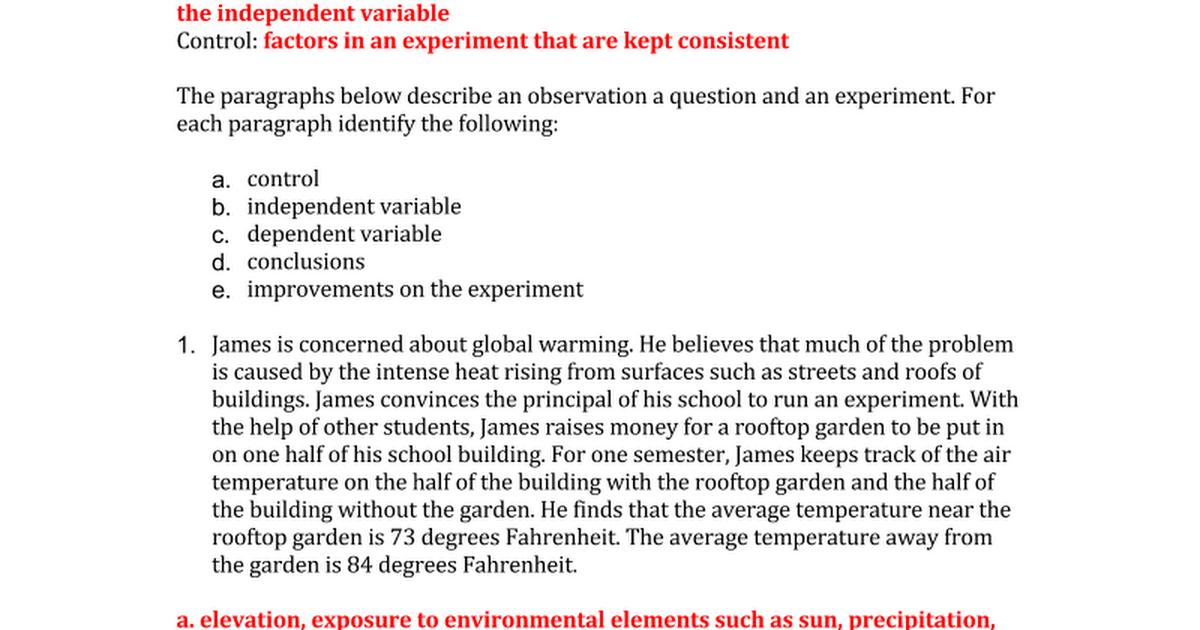 Experimental Design Identifying Controls and Variables Key – Experimental Design Worksheet