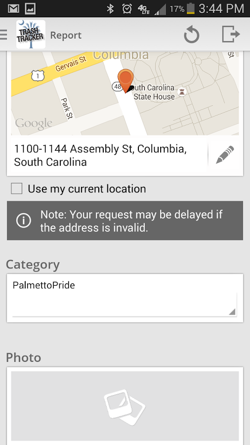 PalmettoPride Trash Tracker- screenshot