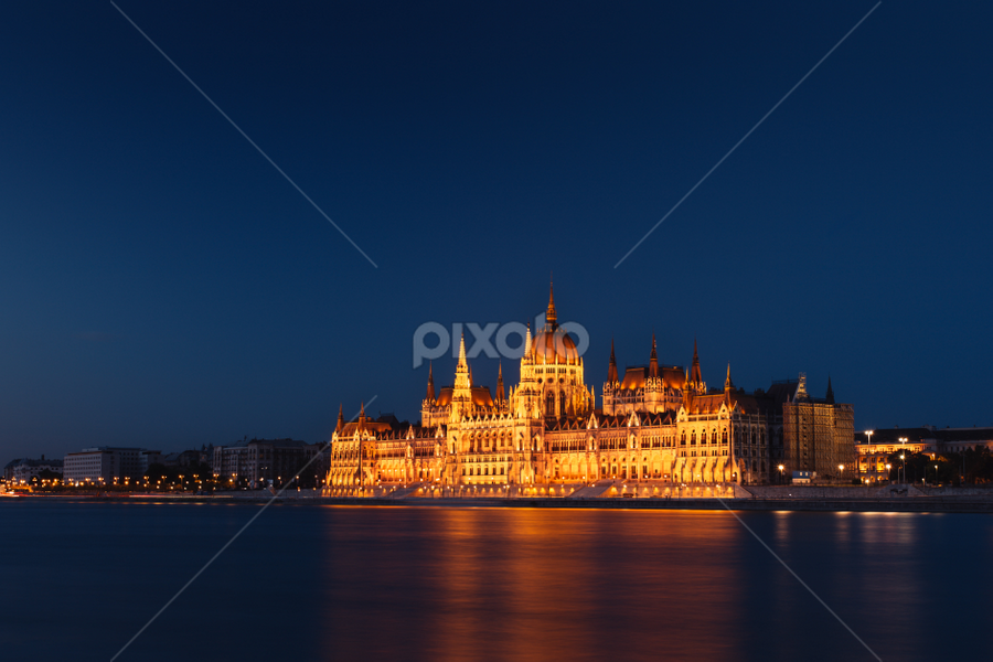 Budapest Parliament by Artem Sapegin - Buildings & Architecture Public & Historical ( parliament, hungary, budapest, twilight, night, cityscape, danube, evening, city, river )