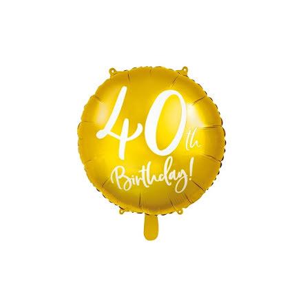 Folieballong - 40th birthday guld
