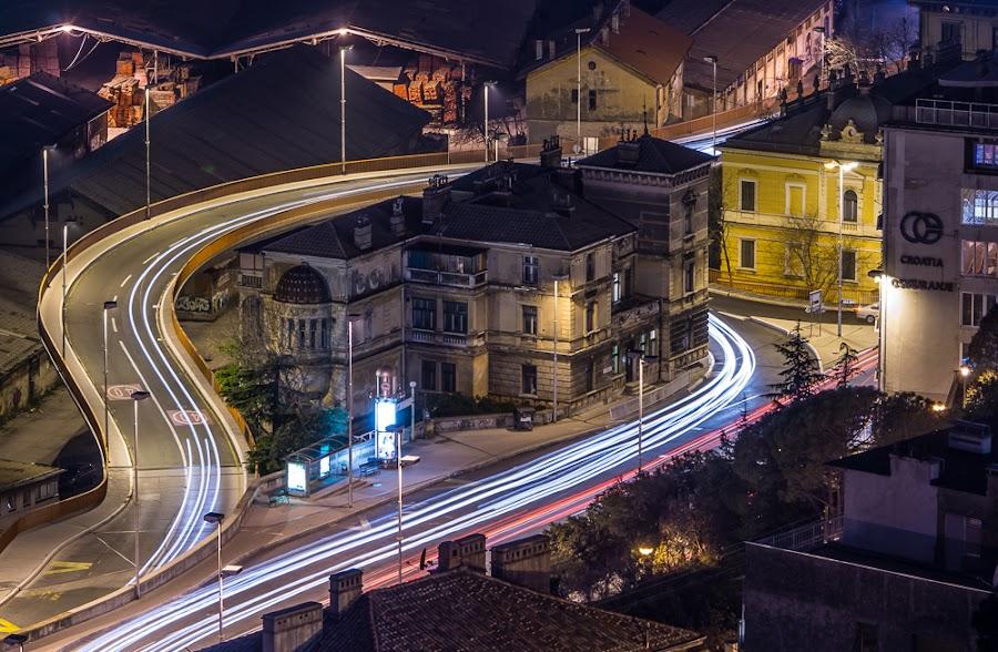 Rijeka by night by Eduard Vukelić - Landscapes Starscapes ( rijeka, light trails, night-scape, city,  )