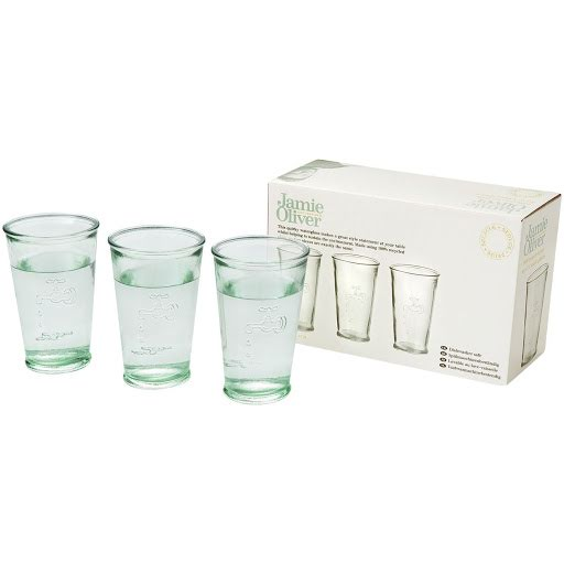 Water Glass Set made from Recycled Glass