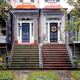Two Entrances by Richard Michael Lingo - Buildings & Architecture Other Exteriors ( georgia, buildings, stairs, savannah, architecture )