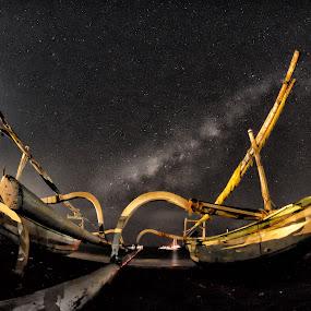 Boats Beneath the Milky Way by Saiful N. Firmansyah - Transportation Boats ( milkyway, ntb, boats, beach, lombok, boat, senggigi, lombokbarat, milky way, nightscape, beaches, night photography, night, night sky, nightscapes,  )