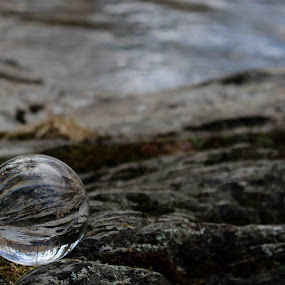 Crystal Ball at the River by Karen Harris - Artistic Objects Glass ( water, crystal ball, rocks, river,  )
